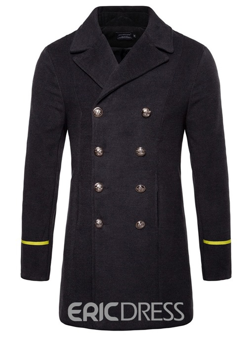 Ericdress Slim Plain Double Breasted Lapel Mens Casual Trench Coat