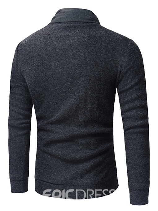 Ericdress Plain Heap Collar Patchwork Mens Casual Sweaters