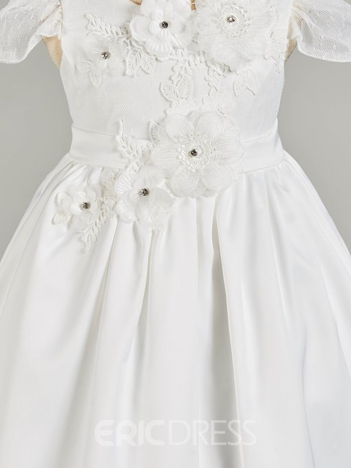 Ericdress A Line Cap Sleeve Applique Girl's Christening Gown