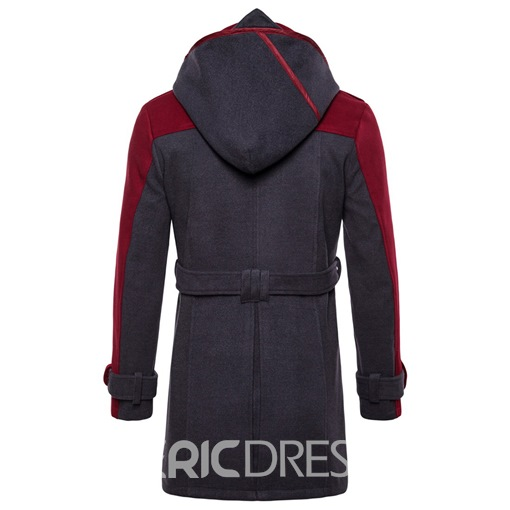Ericdress Patchwork Hooded Double Breasted Mid-Length Mens Trench Coat