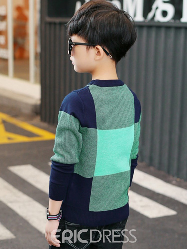 Ericdress Letter Patchwork Pullover Boy's Casual Sweaters