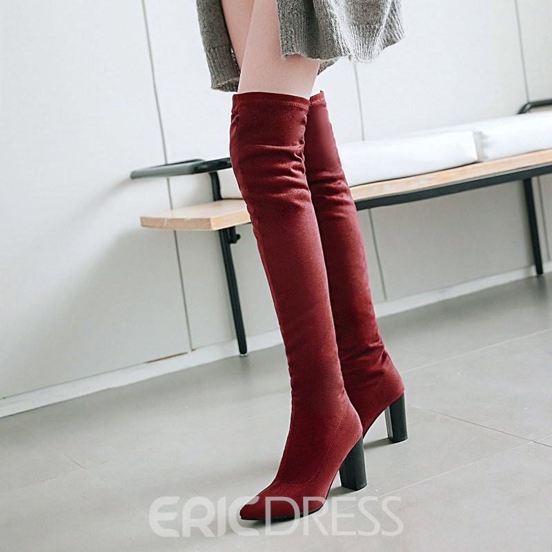 Ericdress Pointed Toe Chunky Heel Slip-On Over The Knee Boots