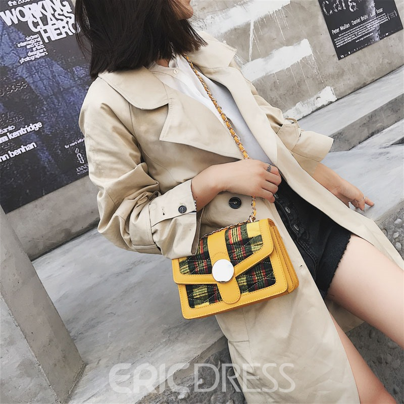 Ericdress Plaid Patchwork Quilted Lining Crossbody Bag