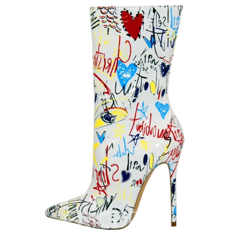 Ericdress Print Pointed Toe Stiletto Heel Women's Ankle Boots