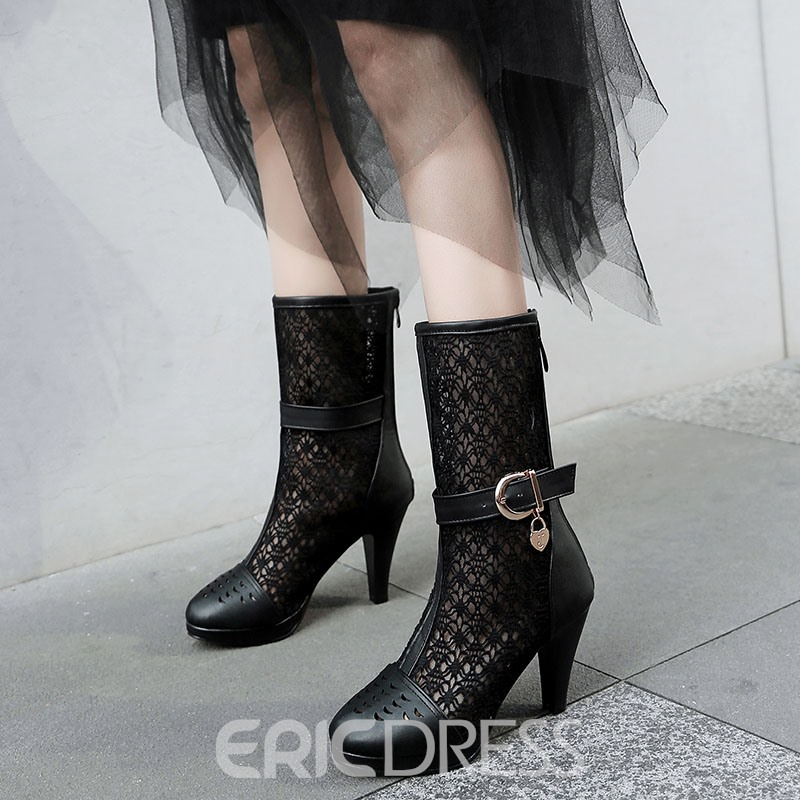 Ericdress Mesh Hollow Platform Chunky Heel Calf High Boots