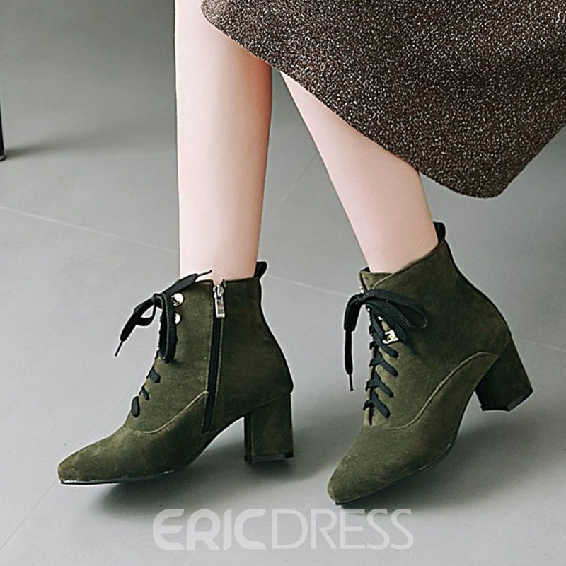 Ericdress Faux Suede Side Zipper Chunky Heel Ankle Boots