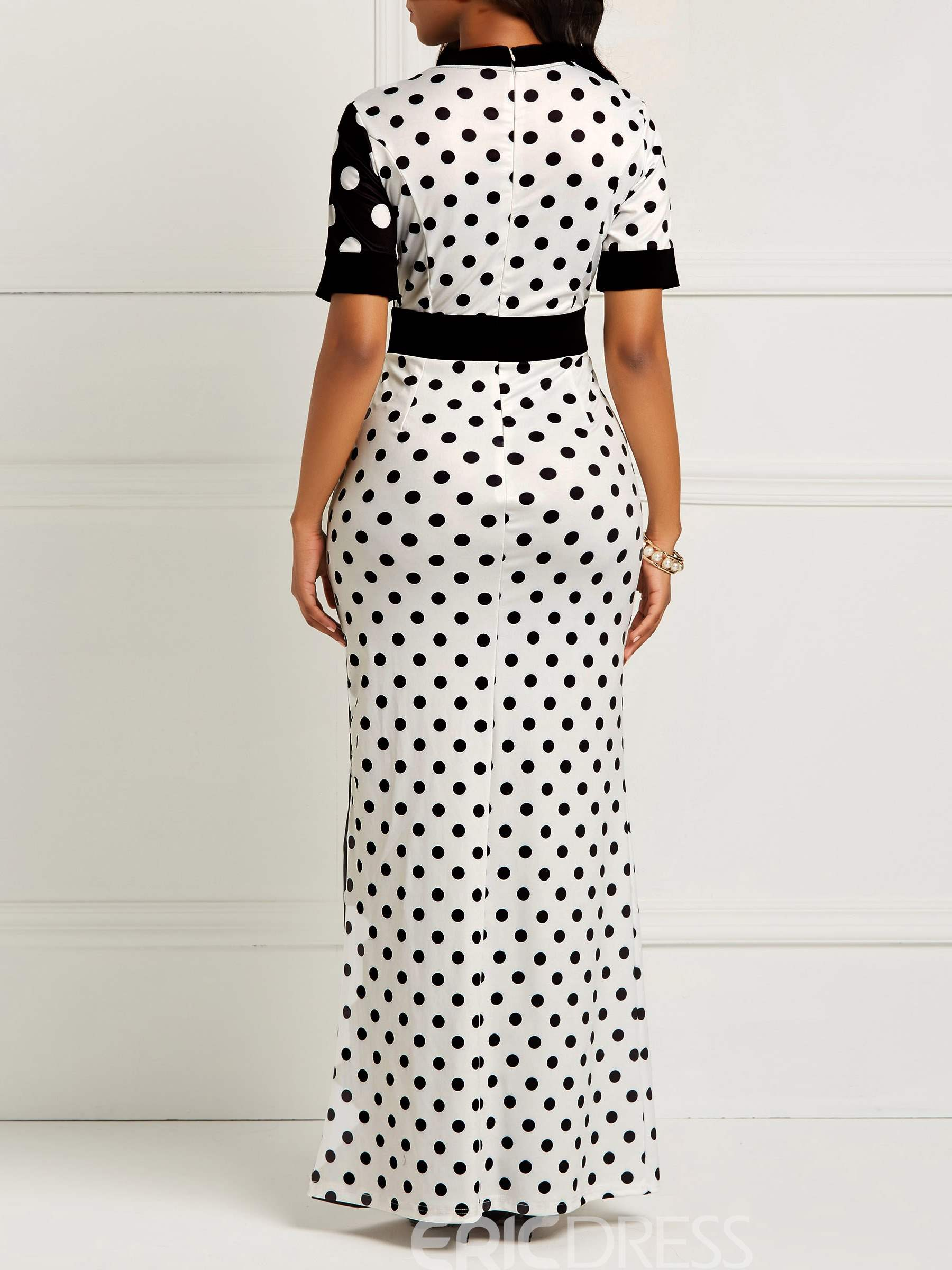 Ericdress Bodycon Polka Dots Color Block Women's Dress
