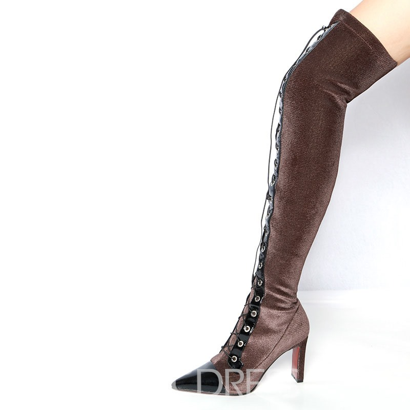Ericdress Pointed Toe Chunky Heel Over The Knee Boots
