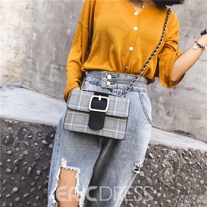 Ericdress Plaid Belt Decorated Rectangle Women Crossbody Bag