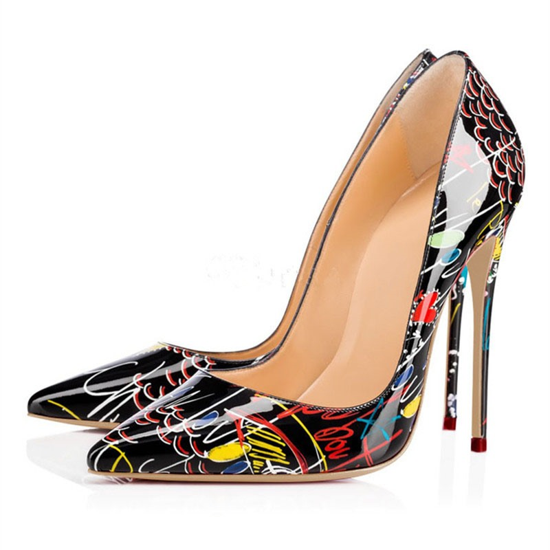Ericdress PU Print Pointed Toe Stiletto Heel Women's Pumps