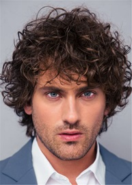 Ericdress Curly Full Lace Wig Human Hair Men's Wig