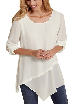 Ericdress Asymmetric Casual Chiffon Layered Long Sleeve T-shirt
