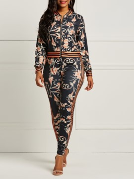 ericdress print zipper coat and pencil pants Conjunto de dos piezas para mujer