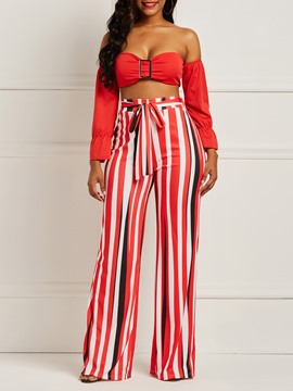 Ericdress Striped Tube Top and Pants Lace-up Women's Two Piece Set