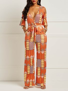 Ericdress Print Pocket Cold Shoulder Women's Jumpsuits