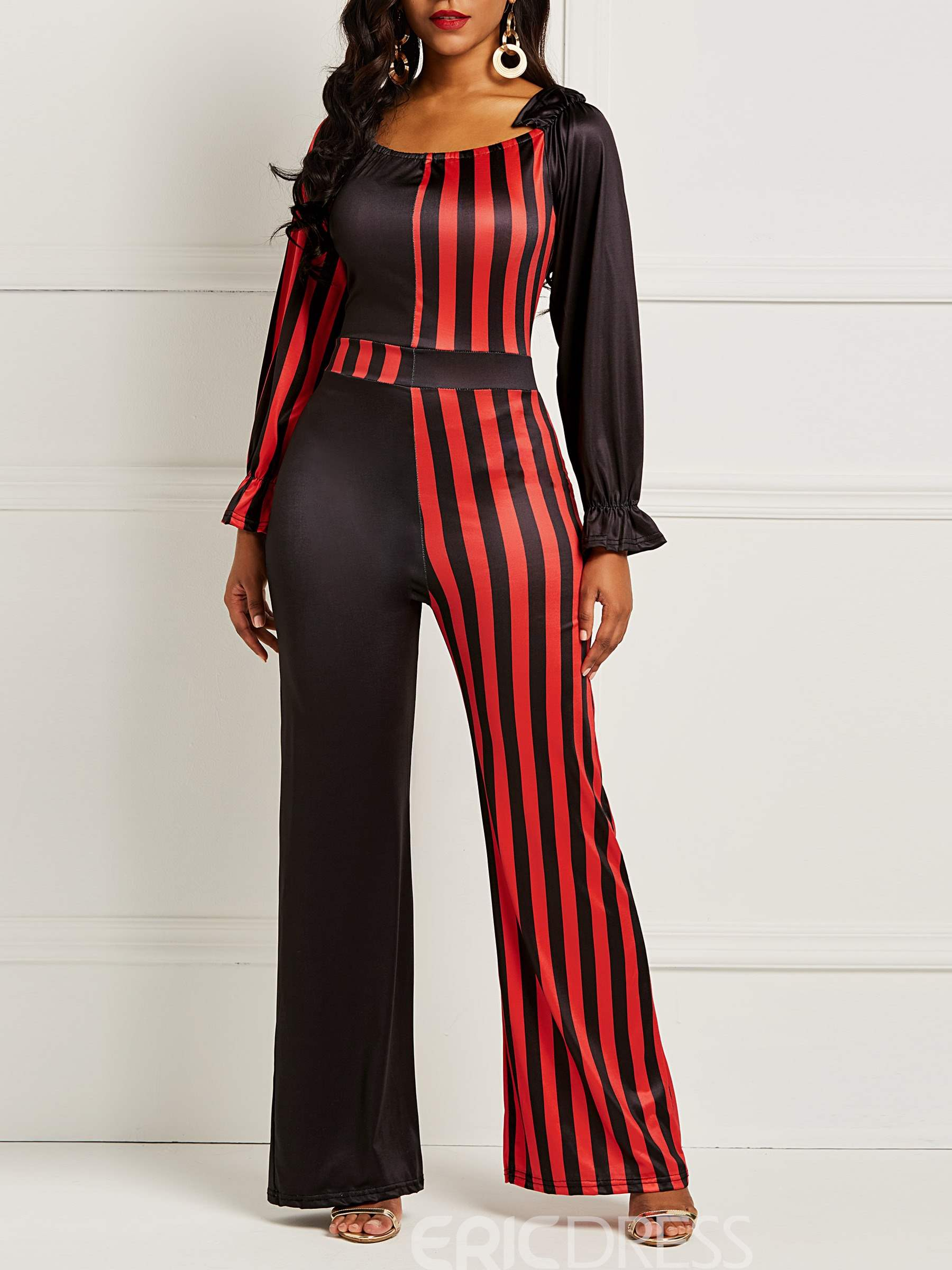 Ericdress Striped Color Block Patchwork Women's Jumpsuits