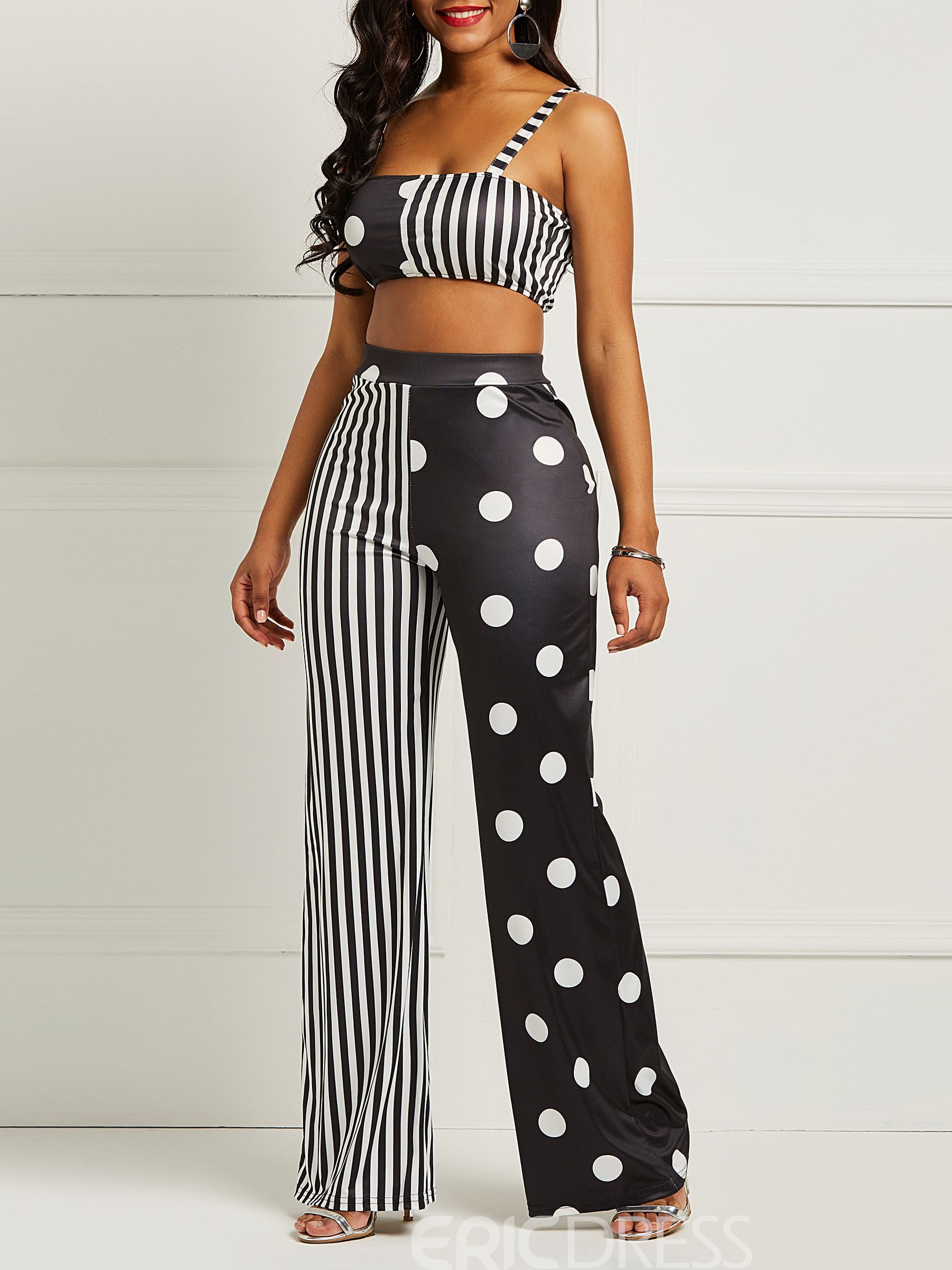 Ericdress Polka Dots Striped Color Block Women's Two Piece Set