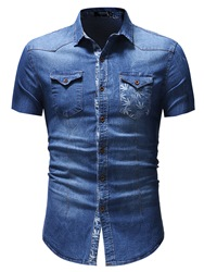 Ericdress Plain Slim Fitted Short Sleeve Mens Casual Shirts фото
