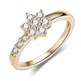Ericdress Hexapetalous Diamante Flower Wedding Ring