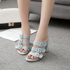 Ericdress Buckle Slip-On Flip Flop Chunky Heel Mules Shoe