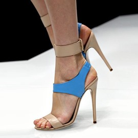 Ericdress Elastic Band Color BlockAnkle Strap Stiletto Sandals