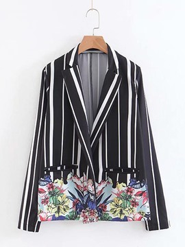 Ericdress Print Notched Lapel Stripe Floral Blazer