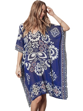 Ericdress Knee-Length Asymmetrical Batwing Sleeve Casual Beach Cover Ups