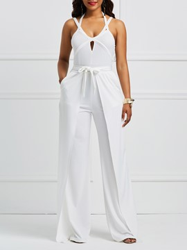 Ericdress Plain Strap Backless Women's Jumpsuit