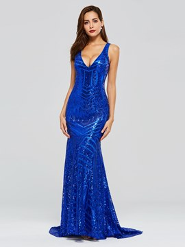 Ericdress V-Neck Mermaid Sequins Evening Dress
