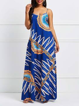 Ericdress Blue Plant Backless Color Block Maxi Dress