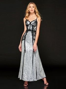 Ericdress A Line Spaghetti Straps Sequin Backless Evening Dress