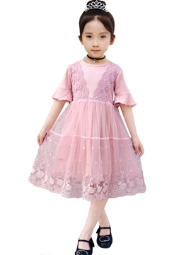 Ericdress Mesh Lace Patchwork Flare Sleeve A-Line Girl's Princess Dress