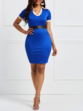 ericdress pullover patchwork einzelnes bodycon dress