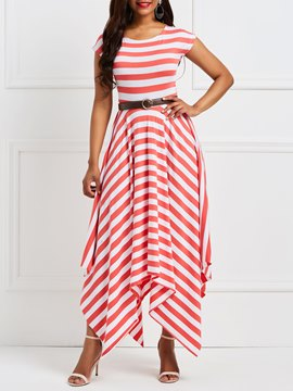 Ericdress Red Stripe Color Block Asymmetric Casual Dress