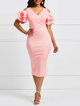 Ericdress Pink V-Neck Ruffles Hollow Bodycon Dress