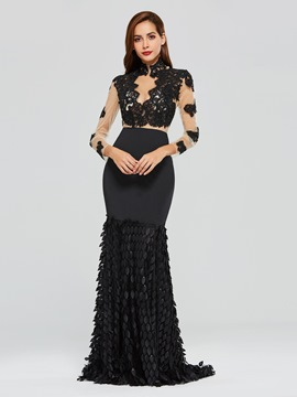 Ericdress High Neck Applique Black Mermaid Evening Dress