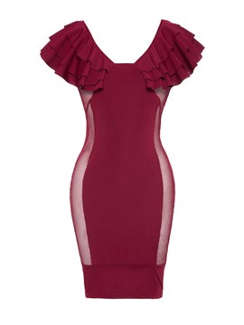 Ericdress Burgundy V-Neck Ruffles Backless Bodycon Dress
