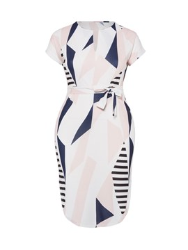 Ericdress Asymmetrical Geometric Color Block Women's Dress