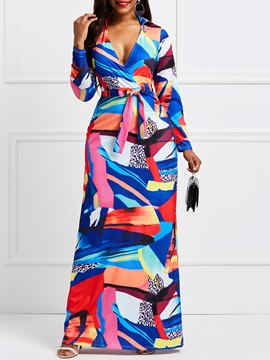 Ericdress V-Neck Geometric Color Block Pullover Maxi Dress