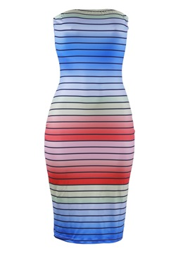Ericdress Strapless Stripe Pullover Bodycon Dress