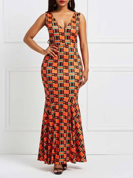 Ericdress Orange V-Neck Geometric Color Block Bodycon Dress