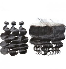 Ericdress 100% Brazilian Virgin Human Hair Extensions Body Wave Hair Bundles +Lace Frontal