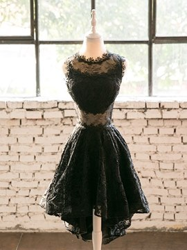 Ericdress A Line Black Lace Asymmetry Homecoming Dress