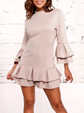 Ericdress Pink Flare Sleeve Ruffles Zipper A-Line Dress