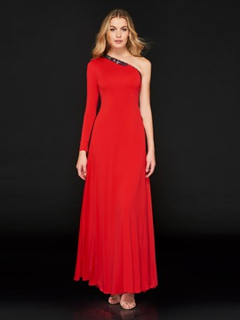 Ericdress Sheath One Shoulder Red Evening Dress