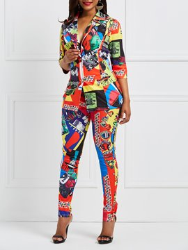 Ericdress Geometric Print Jacket and Pants Women's Suit