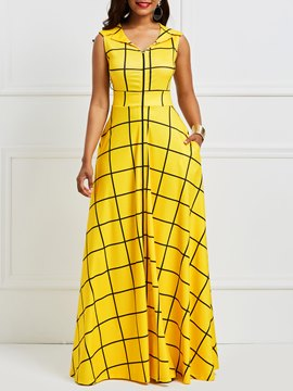 Ericdress Yellow Plaid Notched Lapel Pocket Maxi Dress