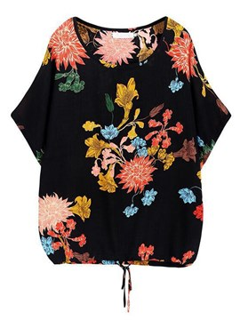 Ericdress Loose Floral Roll-up Plus-Size Short Sleeve Womens T Shirt