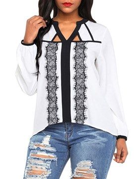 Ericdress Lace Patchwork Notch-V Long Sleeve Womens T Shirt