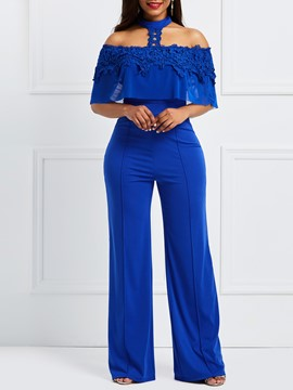 Ericdress Lace Off the Shoulder Wide Leg Women's Jumpsuit